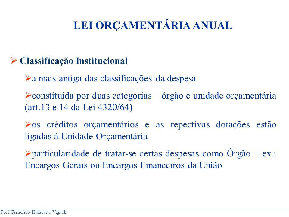 Prof. Francisco Humberto Vignoli  Classificação Institucional  a mais antiga das classificações da despesa  constituída por duas categorias – órgão