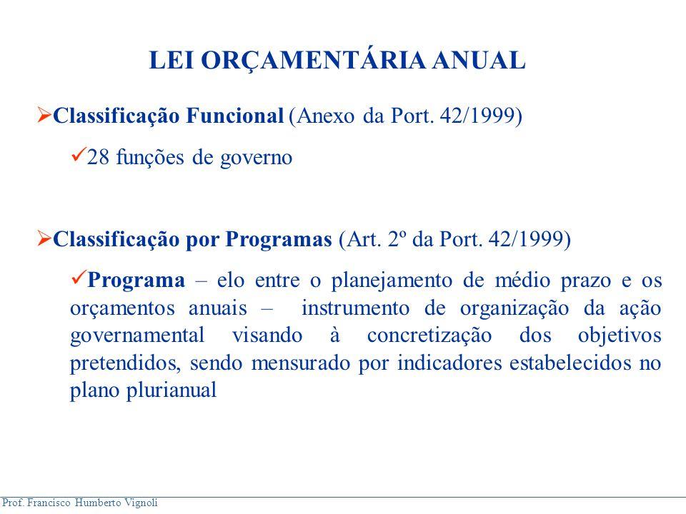 Prof. Francisco Humberto Vignoli  Classificação Funcional (Anexo da Port. 42/1999) 28 funções de governo  Classificação por Programas (Art. 2º da Po