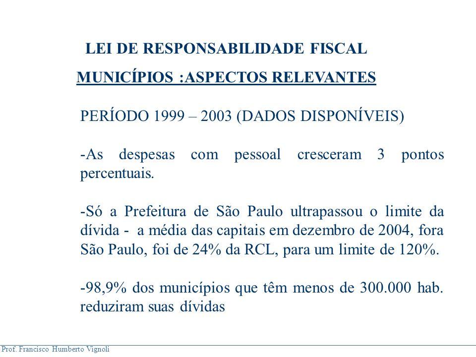 Prof. Francisco Humberto Vignoli PERÍODO 1999 – 2003 (DADOS DISPONÍVEIS) -As despesas com pessoal cresceram 3 pontos percentuais. -Só a Prefeitura de