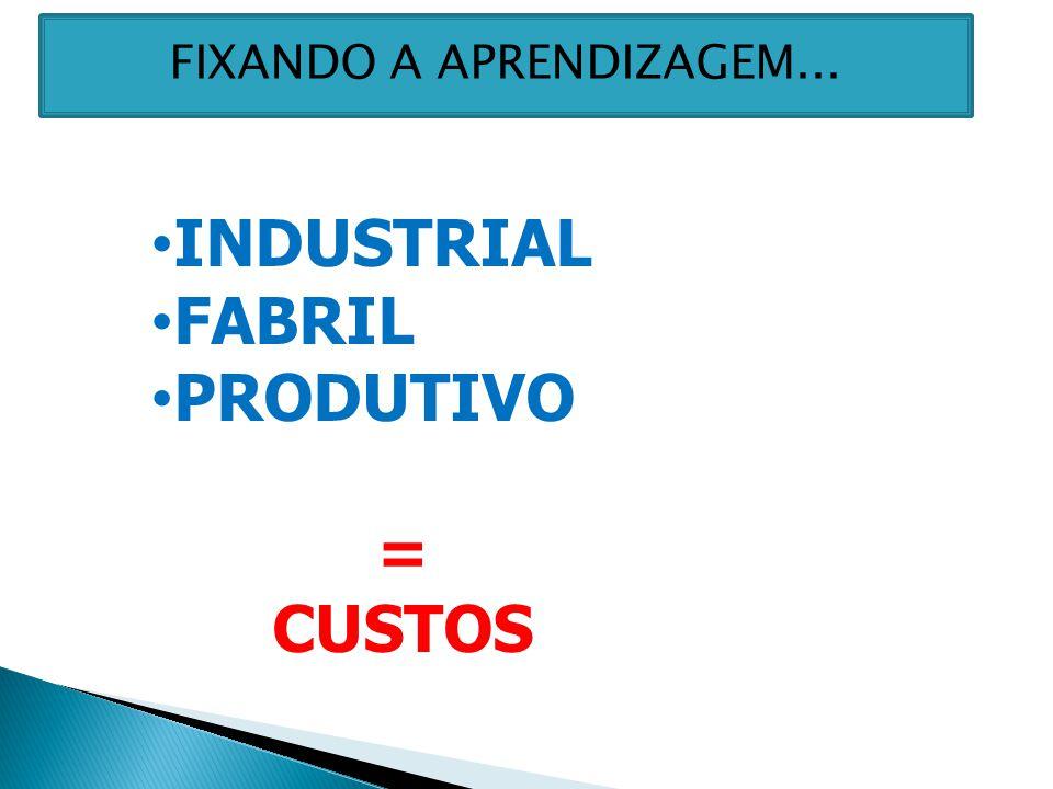 INDUSTRIAL FABRIL PRODUTIVO = CUSTOS FIXANDO A APRENDIZAGEM...