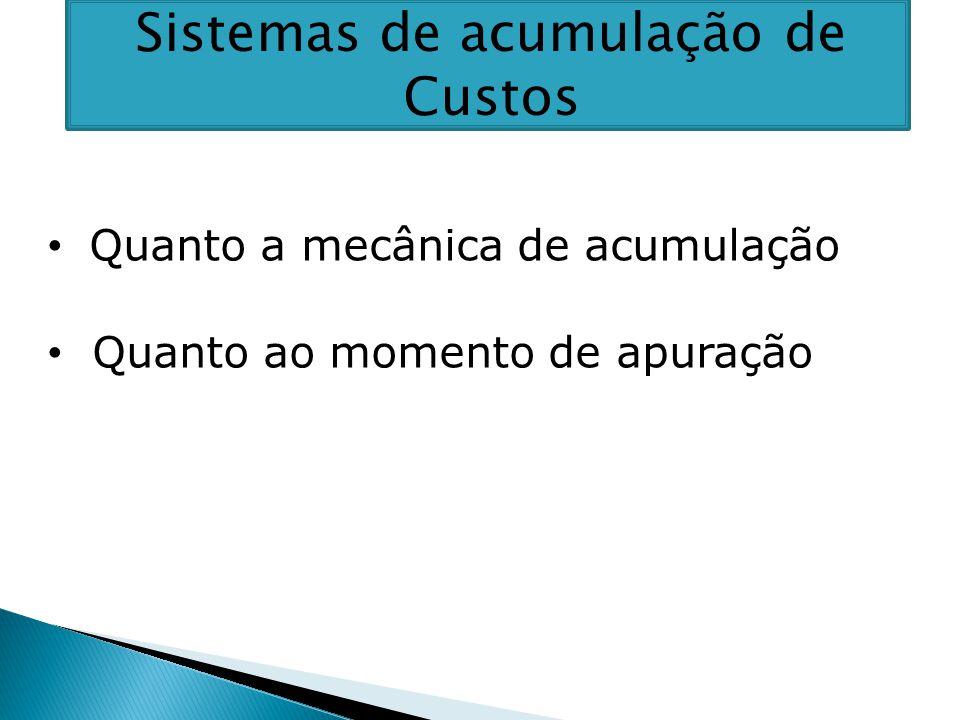 Sistemas de acumulação de Custos Quanto a mecânica de acumulação Quanto ao momento de apuração