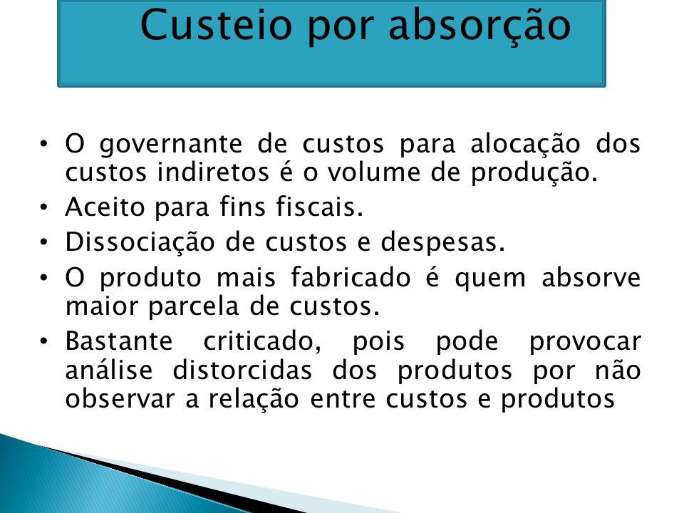 O governante de custos para alocação dos custos indiretos é o volume de produção.