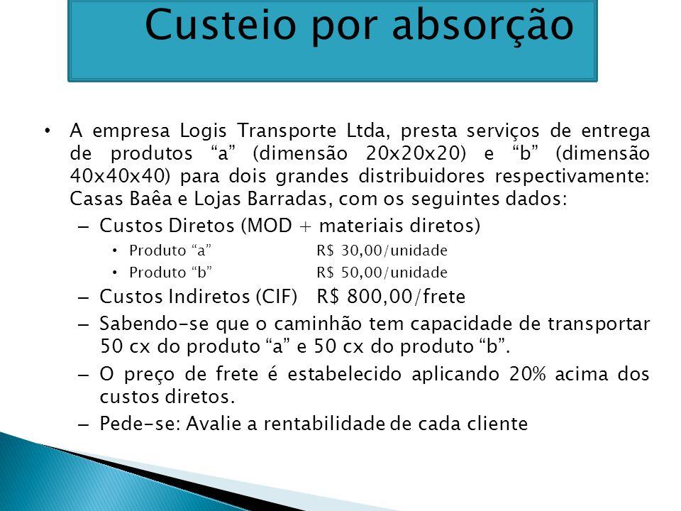 A empresa Logis Transporte Ltda, presta serviços de entrega de produtos a (dimensão 20x20x20) e b (dimensão 40x40x40) para dois grandes distribuidores respectivamente: Casas Baêa e Lojas Barradas, com os seguintes dados: – Custos Diretos (MOD + materiais diretos) Produto a R$ 30,00/unidade Produto b R$ 50,00/unidade – Custos Indiretos (CIF)R$ 800,00/frete – Sabendo-se que o caminhão tem capacidade de transportar 50 cx do produto a e 50 cx do produto b .