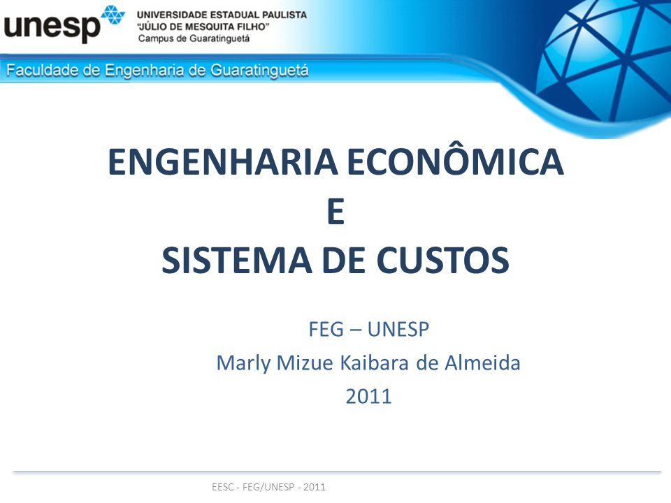EESC - FEG/UNESP - 2011 Ponto de equilíbrio Aumento no preço QUANTIDADE $ CUSTOS = CF + v.Q RECEITA = p.Q Qo Ro RECEITA = p .Q Qo Ro