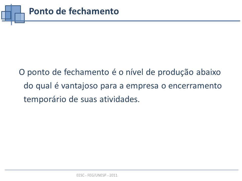 EESC - FEG/UNESP - 2011 O ponto de fechamento é o nível de produção abaixo do qual é vantajoso para a empresa o encerramento temporário de suas atividades.
