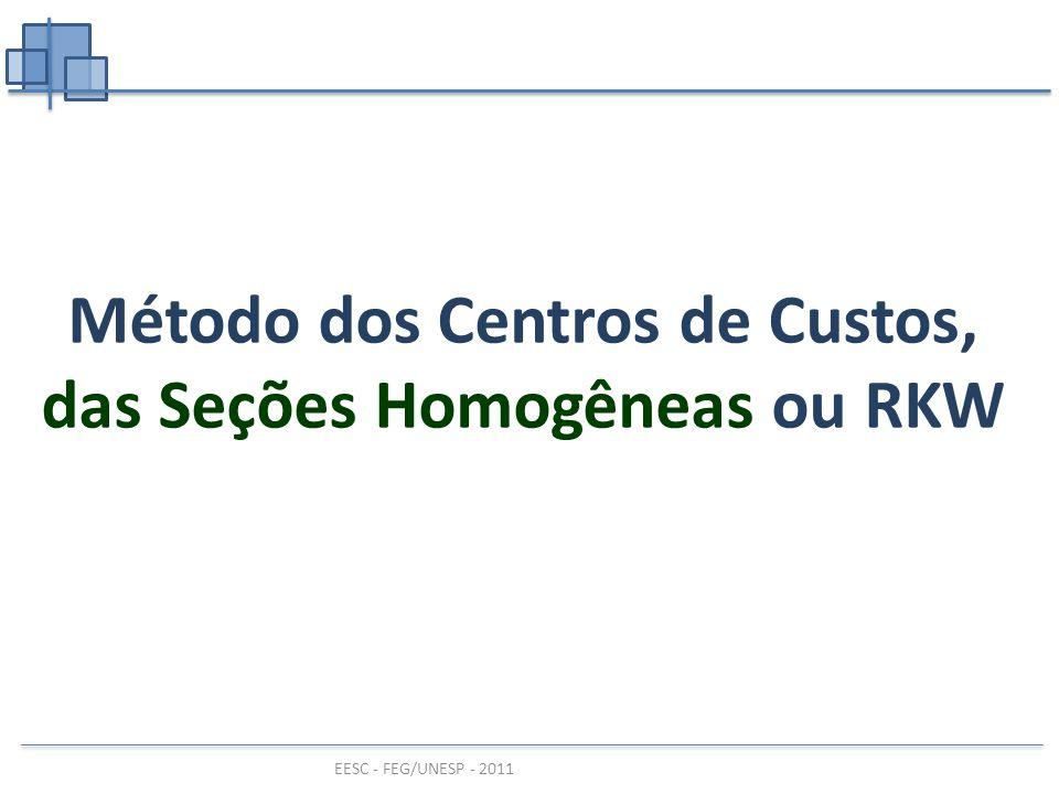 EESC - FEG/UNESP - 2011 Método dos Centros de Custos, das Seções Homogêneas ou RKW