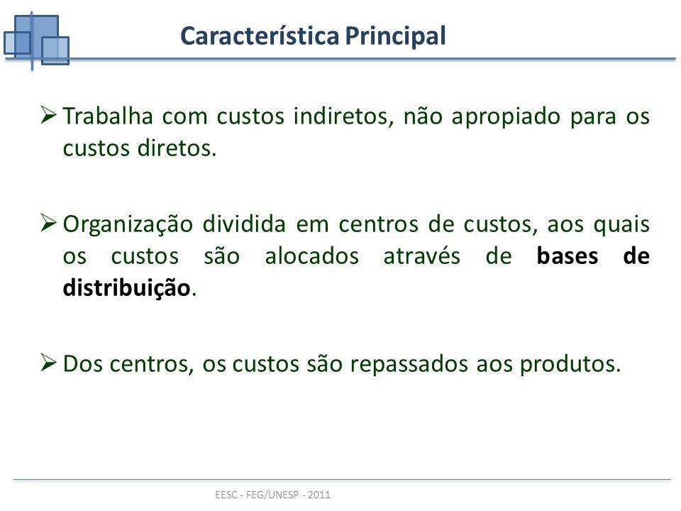 EESC - FEG/UNESP - 2011 Característica Principal  Trabalha com custos indiretos, não apropiado para os custos diretos.