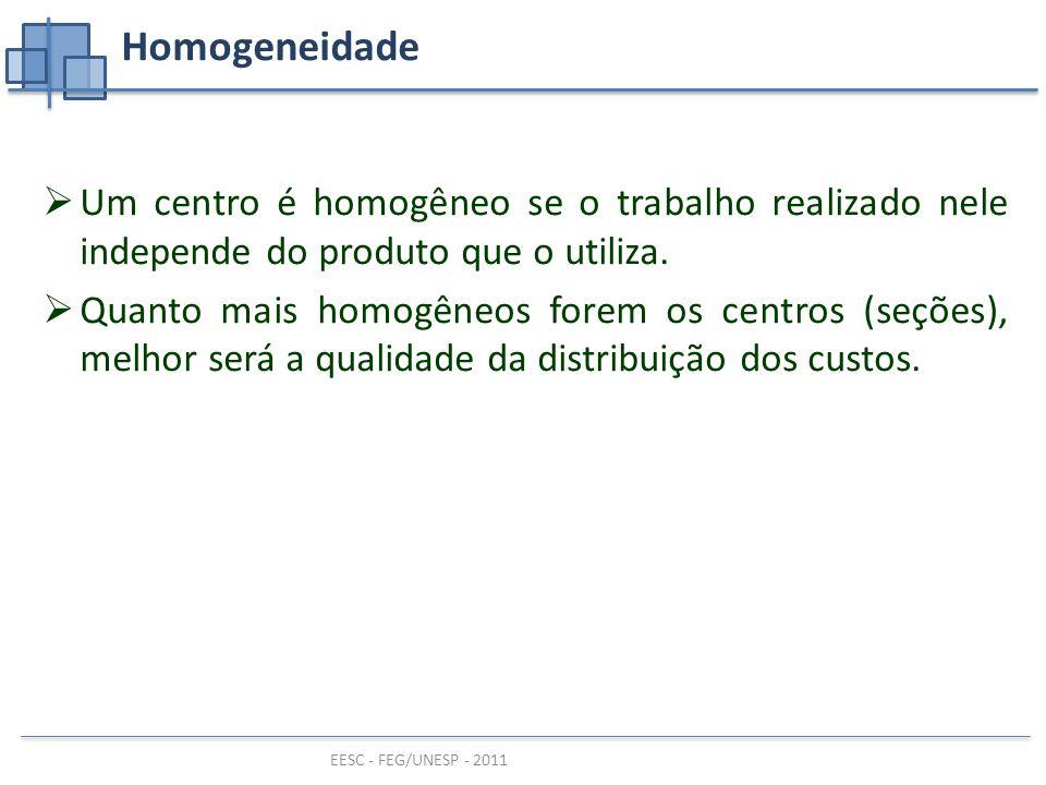 EESC - FEG/UNESP - 2011 Homogeneidade  Um centro é homogêneo se o trabalho realizado nele independe do produto que o utiliza.