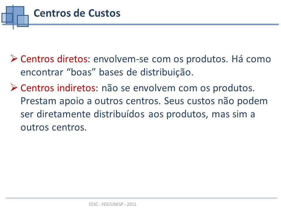 EESC - FEG/UNESP - 2011 Centros de Custos  Centros diretos: envolvem-se com os produtos.