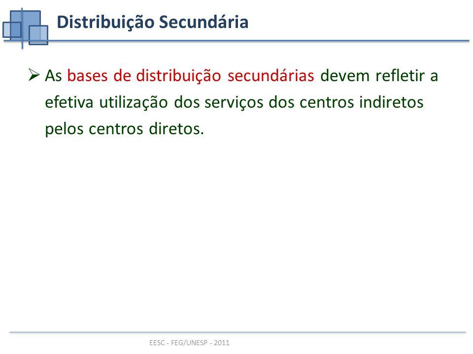 EESC - FEG/UNESP - 2011 Distribuição Secundária  As bases de distribuição secundárias devem refletir a efetiva utilização dos serviços dos centros indiretos pelos centros diretos.