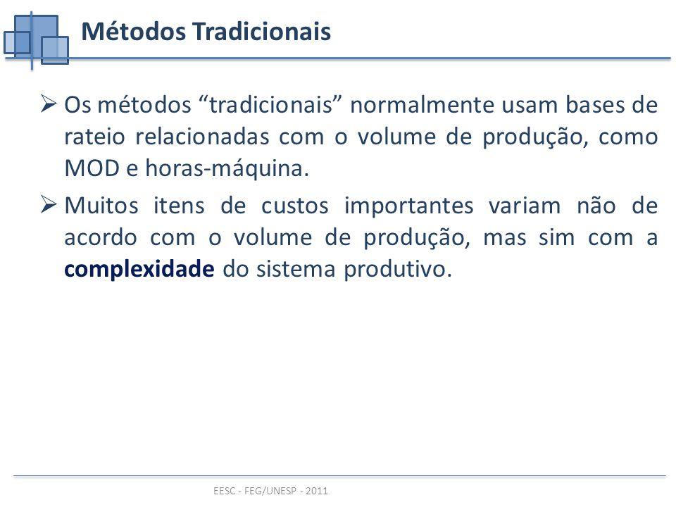 EESC - FEG/UNESP - 2011 Métodos Tradicionais  Os métodos tradicionais normalmente usam bases de rateio relacionadas com o volume de produção, como MOD e horas-máquina.