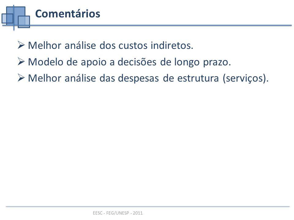 EESC - FEG/UNESP - 2011 Comentários  Melhor análise dos custos indiretos.