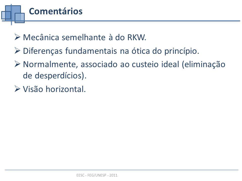 EESC - FEG/UNESP - 2011 Comentários  Mecânica semelhante à do RKW.