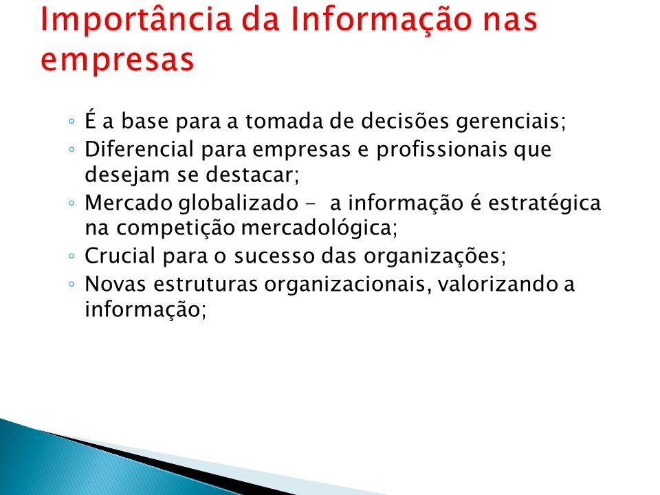 ◦ É a base para a tomada de decisões gerenciais; ◦ Diferencial para empresas e profissionais que desejam se destacar; ◦ Mercado globalizado - a inform