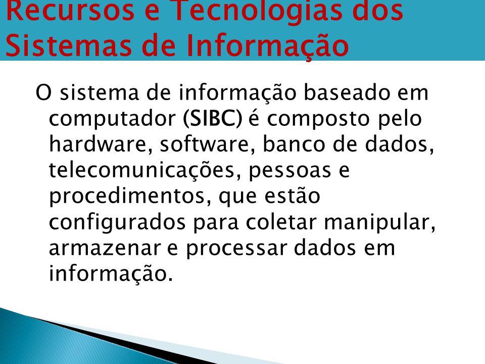 O sistema de informação baseado em computador (SIBC) é composto pelo hardware, software, banco de dados, telecomunicações, pessoas e procedimentos, qu