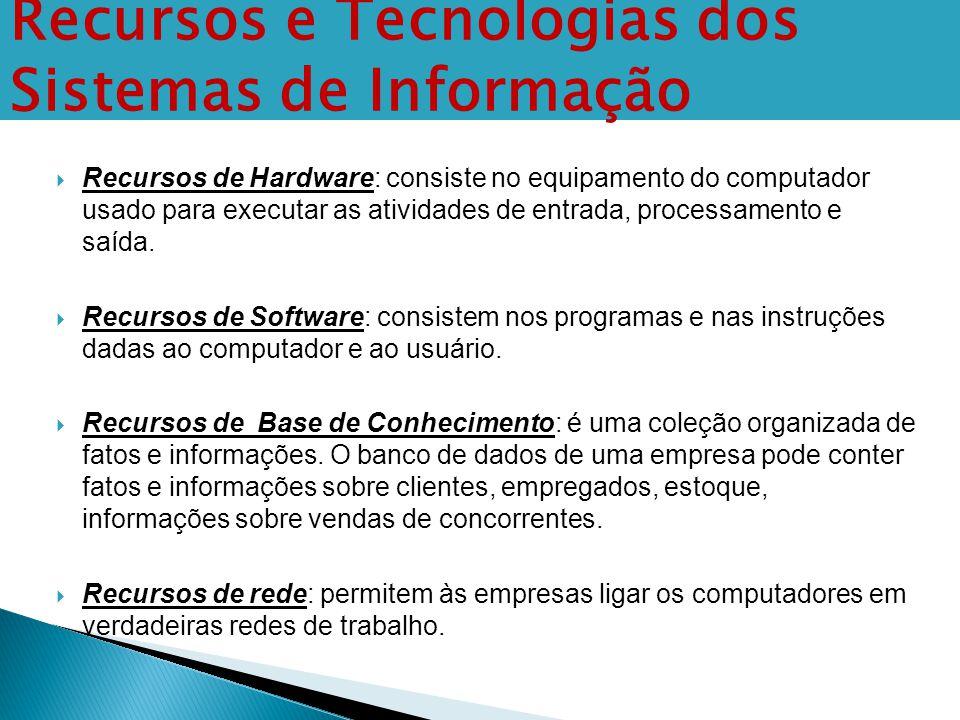  Recursos de Hardware: consiste no equipamento do computador usado para executar as atividades de entrada, processamento e saída.  Recursos de Softw