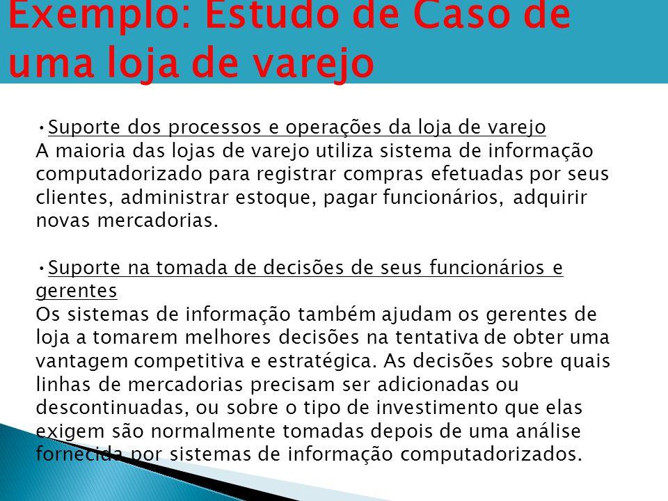 Exemplo: Estudo de Caso de uma loja de varejo Suporte dos processos e operações da loja de varejo A maioria das lojas de varejo utiliza sistema de inf