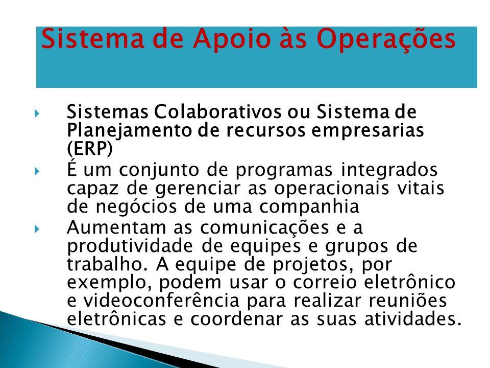 Sistemas Colaborativos ou Sistema de Planejamento de recursos empresarias (ERP)  É um conjunto de programas integrados capaz de gerenciar as operac