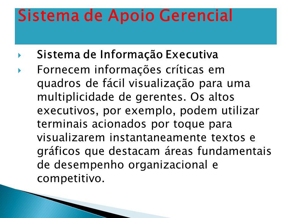  Sistema de Informação Executiva  Fornecem informações críticas em quadros de fácil visualização para uma multiplicidade de gerentes. Os altos execu