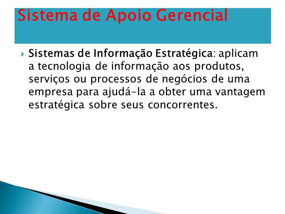  Sistemas de Informação Estratégica: aplicam a tecnologia de informação aos produtos, serviços ou processos de negócios de uma empresa para ajudá-la