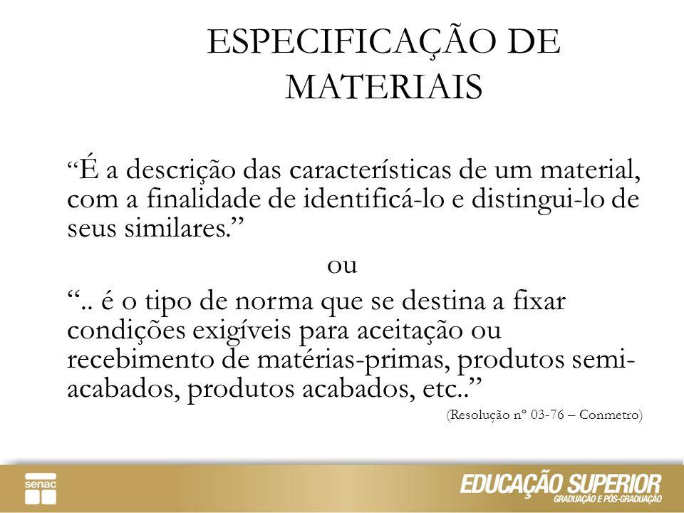 """ESPECIFICAÇÃO DE MATERIAIS """" É a descrição das características de um material, com a finalidade de identificá-lo e distingui-lo de seus similares."""" ou"""