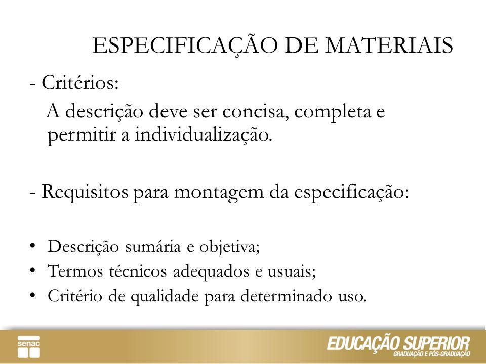 ESPECIFICAÇÃO DE MATERIAIS - Critérios: A descrição deve ser concisa, completa e permitir a individualização. - Requisitos para montagem da especifica