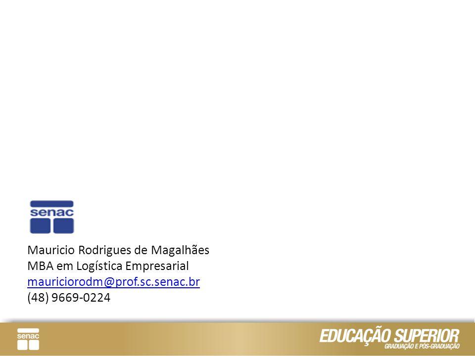Mauricio Rodrigues de Magalhães MBA em Logística Empresarial mauriciorodm@prof.sc.senac.br (48) 9669-0224 mauriciorodm@prof.sc.senac.br