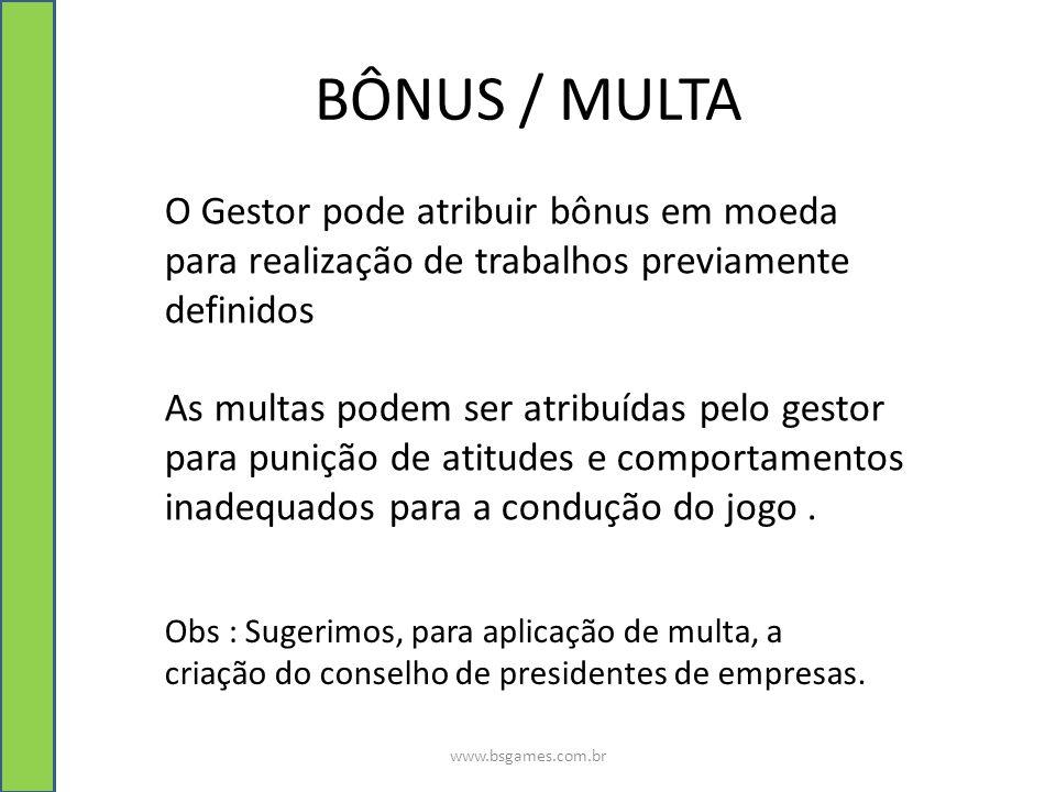 BÔNUS / MULTA www.bsgames.com.br O Gestor pode atribuir bônus em moeda para realização de trabalhos previamente definidos As multas podem ser atribuíd