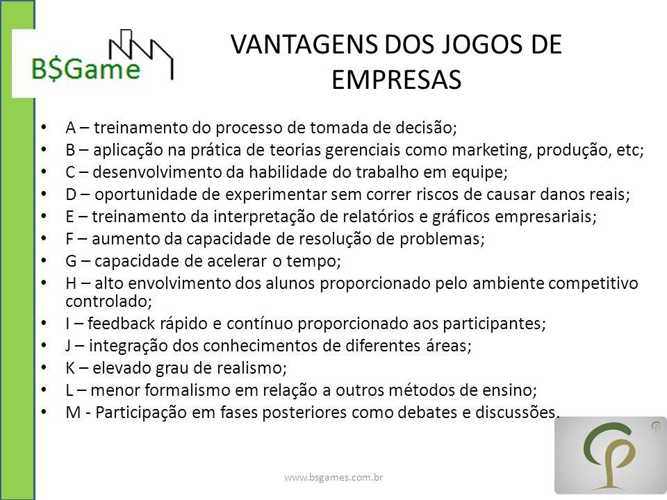 VANTAGENS DOS JOGOS DE EMPRESAS www.bsgames.com.br A – treinamento do processo de tomada de decisão; B – aplicação na prática de teorias gerenciais co
