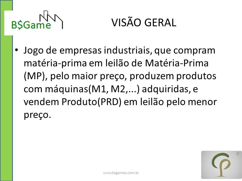 VISÃO GERAL Jogo de empresas industriais, que compram matéria-prima em leilão de Matéria-Prima (MP), pelo maior preço, produzem produtos com máquinas(