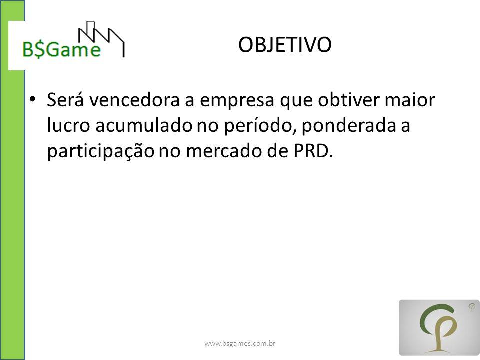 OBJETIVO Será vencedora a empresa que obtiver maior lucro acumulado no período, ponderada a participação no mercado de PRD. www.bsgames.com.br