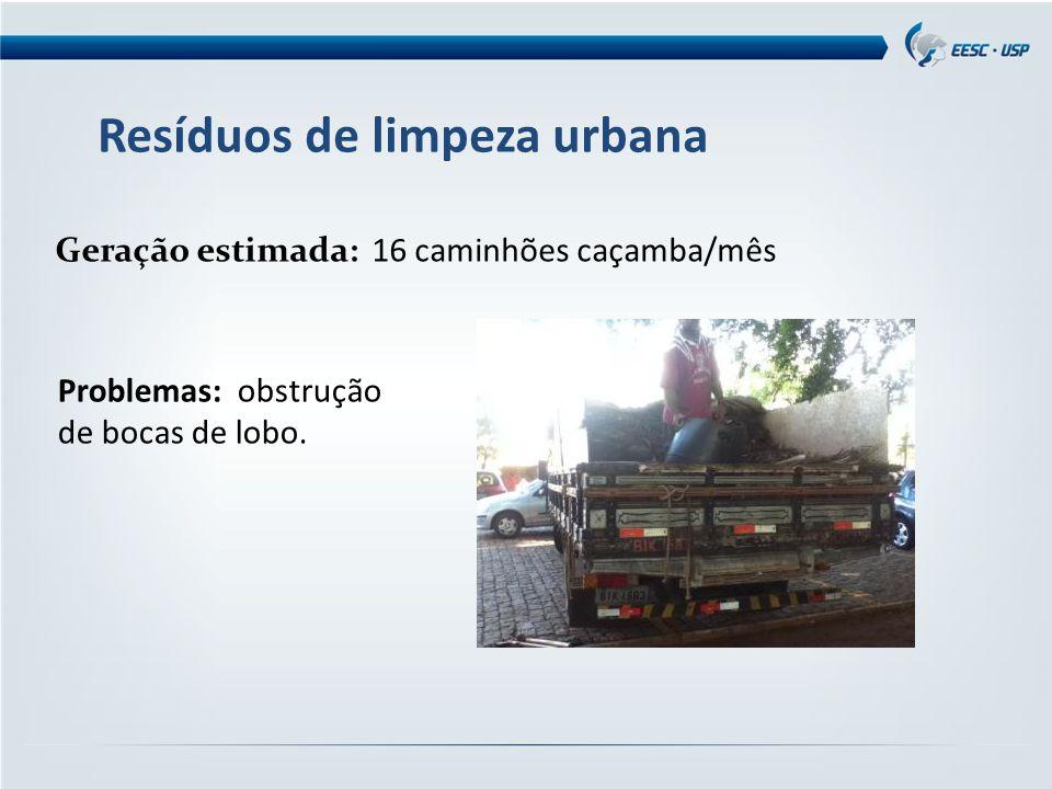 Resíduos de limpeza urbana Geração estimada: 16 caminhões caçamba/mês Problemas: obstrução de bocas de lobo.