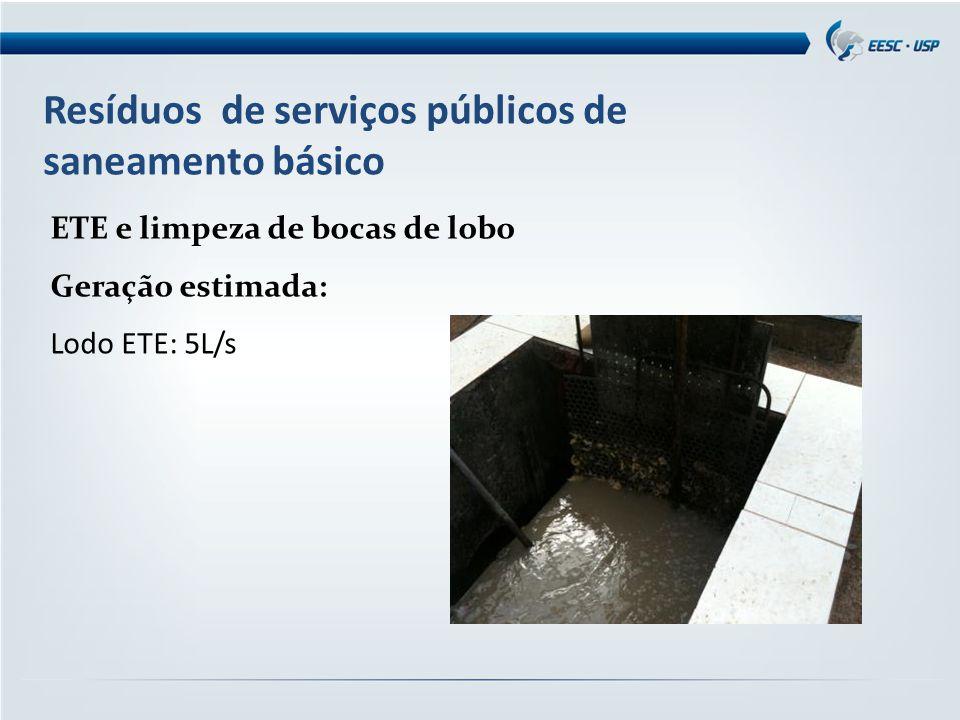Resíduos de serviços públicos de saneamento básico ETE e limpeza de bocas de lobo Geração estimada: Lodo ETE: 5L/s