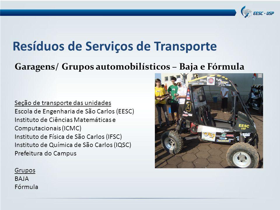 Resíduos de Serviços de Transporte Garagens/ Grupos automobilísticos – Baja e Fórmula Seção de transporte das unidades Escola de Engenharia de São Car