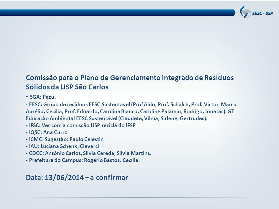Comissão para o Plano de Gerenciamento Integrado de Resíduos Sólidos da USP São Carlos - SGA: Pazu. - EESC: Grupo de resíduos EESC Sustentável (Prof A