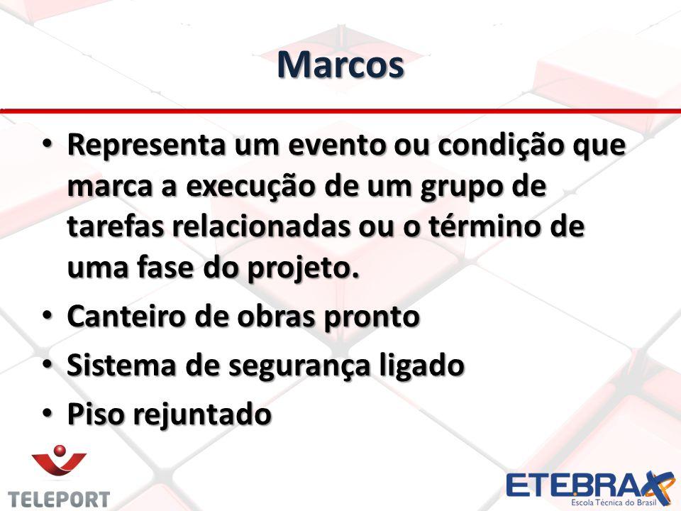 Marcos Representa um evento ou condição que marca a execução de um grupo de tarefas relacionadas ou o término de uma fase do projeto. Representa um ev