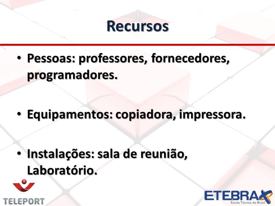 Recursos Pessoas: professores, fornecedores, programadores. Pessoas: professores, fornecedores, programadores. Equipamentos: copiadora, impressora. Eq