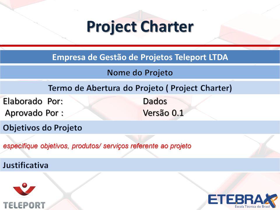 Project Charter Elaborado Por: Dados Elaborado Por: Dados Aprovado Por : Versão 0.1 Aprovado Por : Versão 0.1 especifique objetivos, produtos/ serviço
