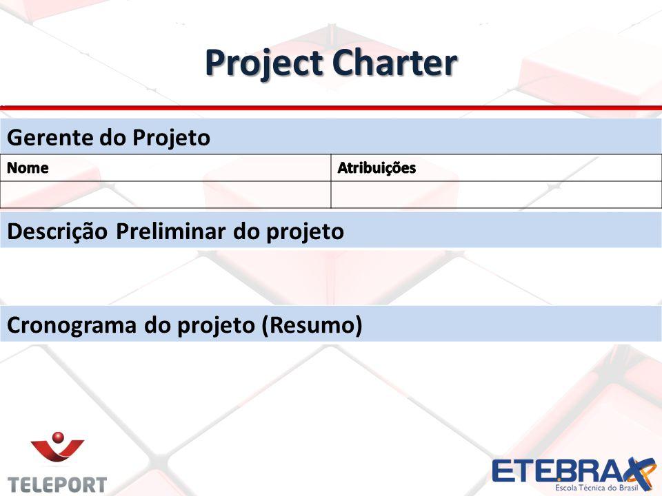 Project Charter Gerente do Projeto Descrição Preliminar do projeto Cronograma do projeto (Resumo)