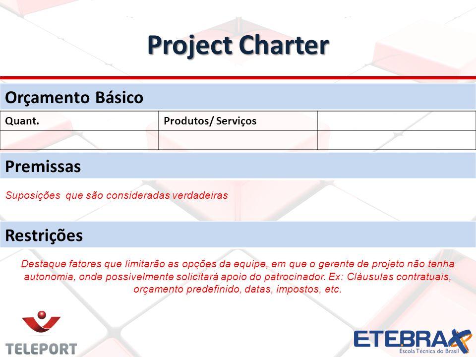 Project Charter Orçamento Básico Quant.Produtos/ Serviços Premissas Restrições Suposições que são consideradas verdadeiras Destaque fatores que limita