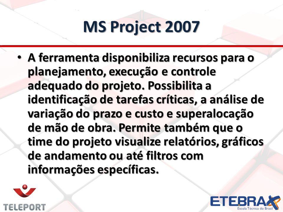 MS Project 2007 A ferramenta disponibiliza recursos para o planejamento, execução e controle adequado do projeto. Possibilita a identificação de taref