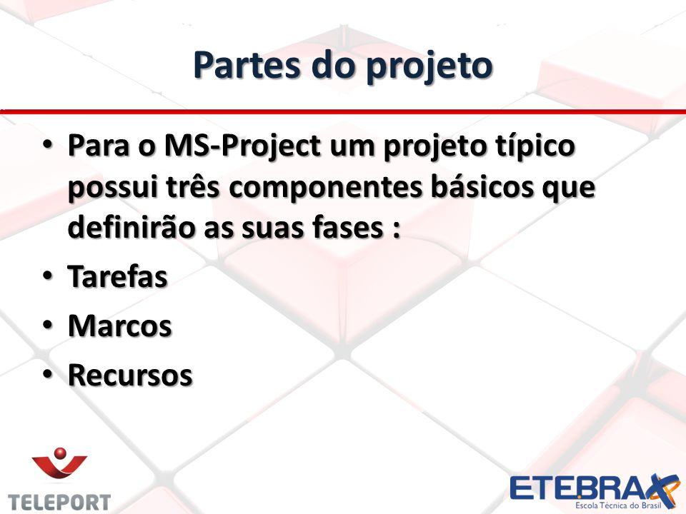 Partes do projeto Para o MS-Project um projeto típico possui três componentes básicos que definirão as suas fases : Para o MS-Project um projeto típic