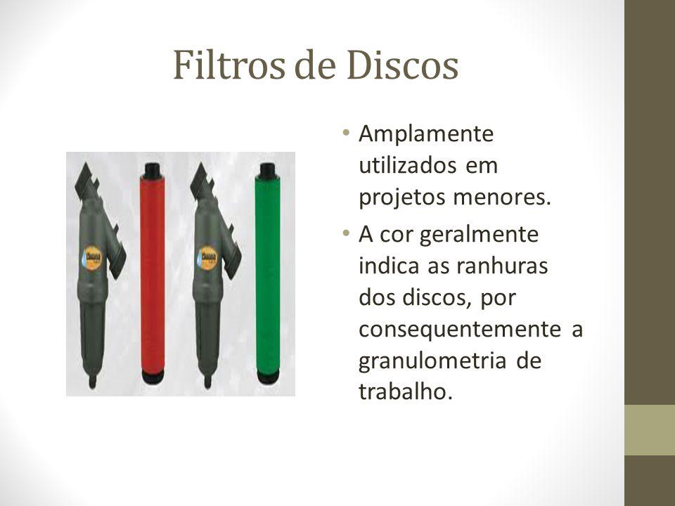 Filtros de Discos Amplamente utilizados em projetos menores. A cor geralmente indica as ranhuras dos discos, por consequentemente a granulometria de t