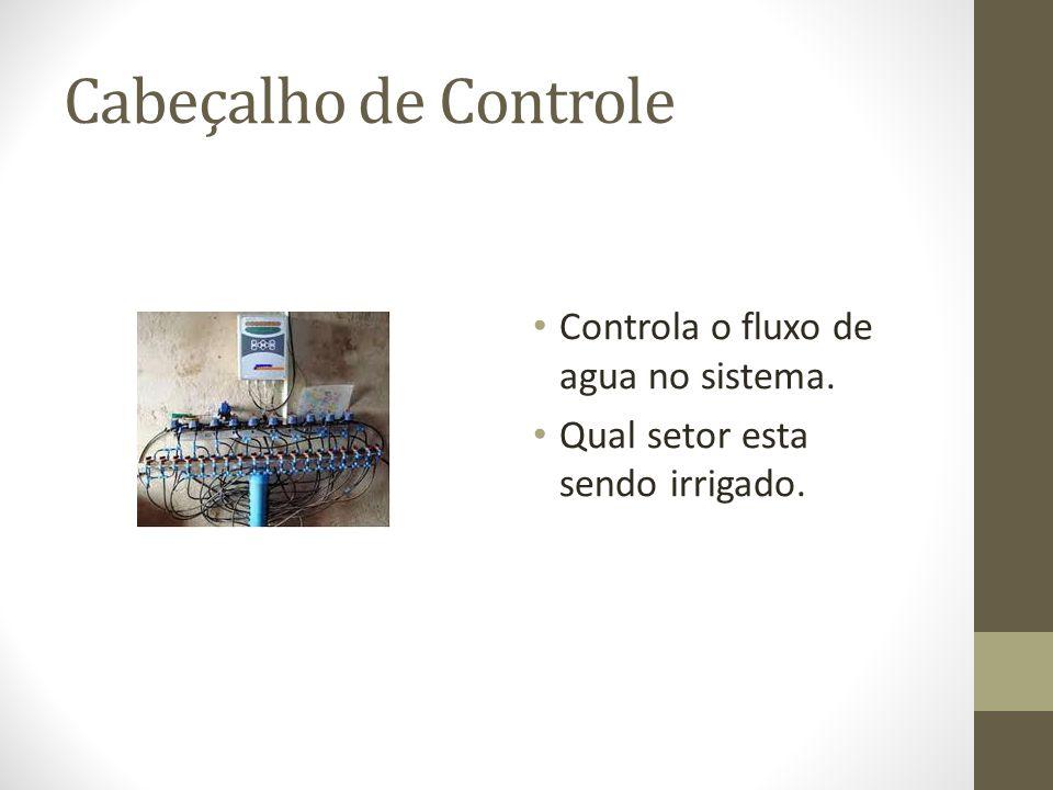 Cabeçalho de Controle Controla o fluxo de agua no sistema. Qual setor esta sendo irrigado.