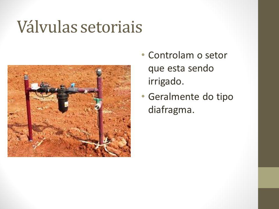 Válvulas setoriais Controlam o setor que esta sendo irrigado. Geralmente do tipo diafragma.