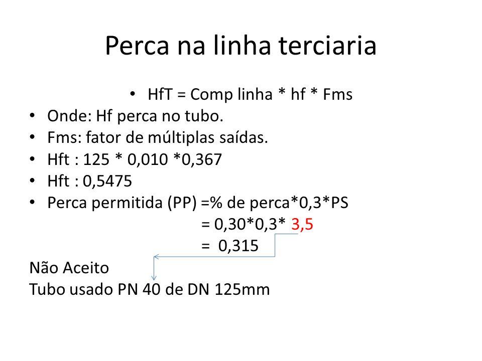 Perca na linha terciaria HfT = Comp linha * hf * Fms Onde: Hf perca no tubo. Fms: fator de múltiplas saídas. Hft : 125 * 0,010 *0,367 Hft : 0,5475 Per