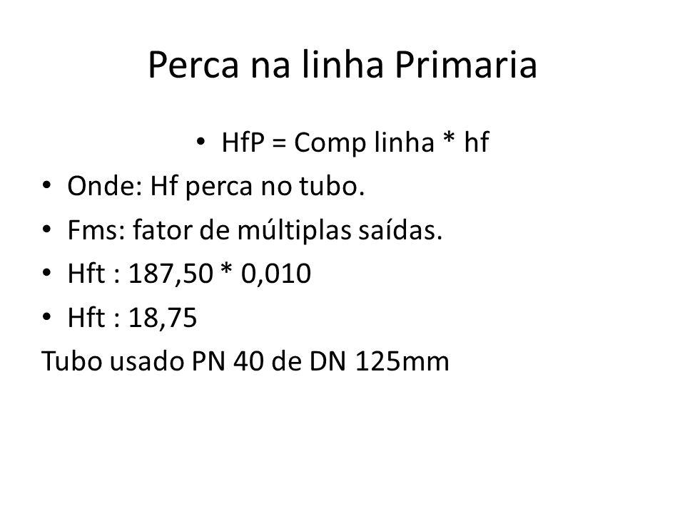 Perca na linha Primaria HfP = Comp linha * hf Onde: Hf perca no tubo. Fms: fator de múltiplas saídas. Hft : 187,50 * 0,010 Hft : 18,75 Tubo usado PN 4