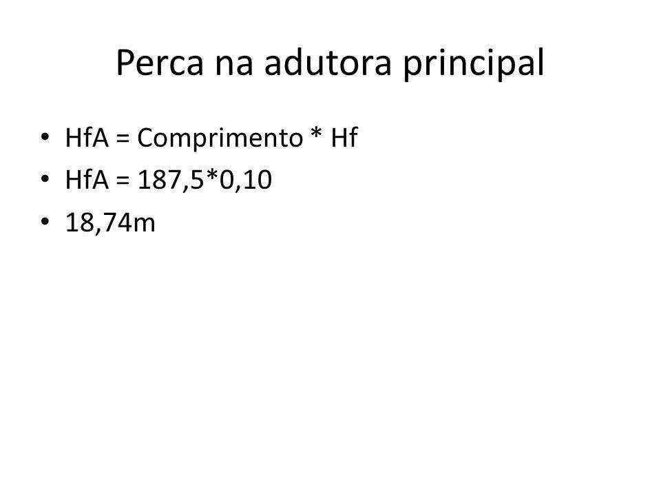 Perca na adutora principal HfA = Comprimento * Hf HfA = 187,5*0,10 18,74m
