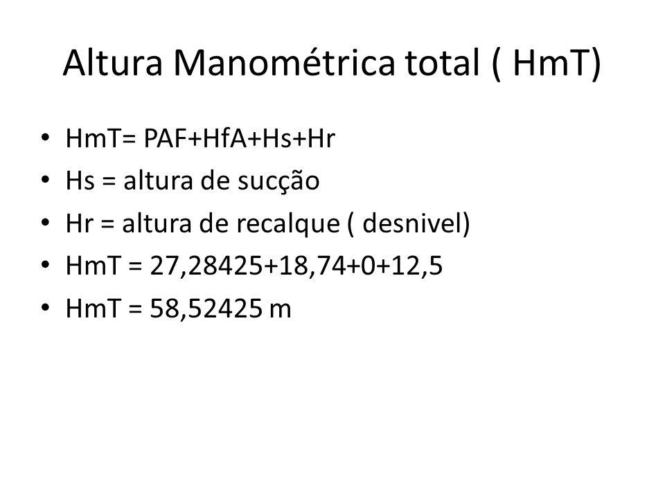 Altura Manométrica total ( HmT) HmT= PAF+HfA+Hs+Hr Hs = altura de sucção Hr = altura de recalque ( desnivel) HmT = 27,28425+18,74+0+12,5 HmT = 58,5242