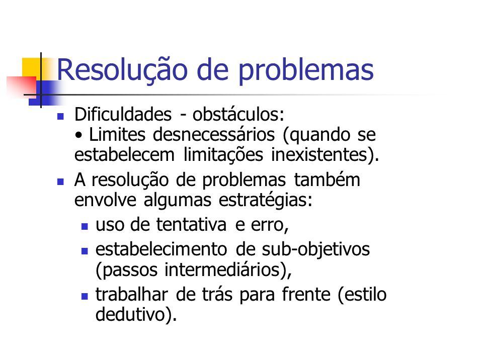 Resolução de problemas Dificuldades - obstáculos: Informação irrelevante (atenção a dados fora do contexto e desvio dos dados centrais); Inflexibilida